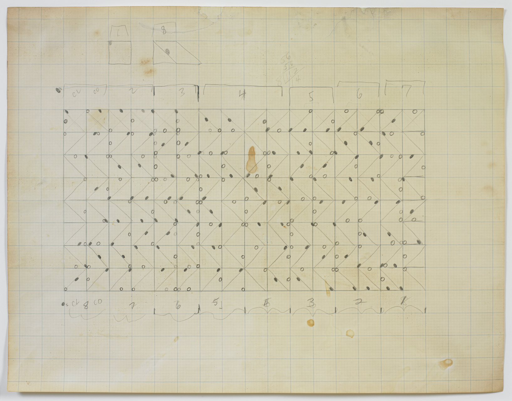 "Larry Poons, ""Untitled,"" c. 1964, graphite on graph paper, 17 5/8 x 22 ..."